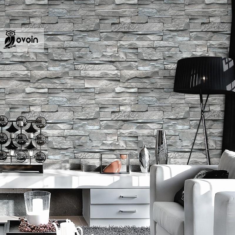 3d Embossed Brick Wallpaper Aliexpress Com Buy Grey White Embossed Brick Wall