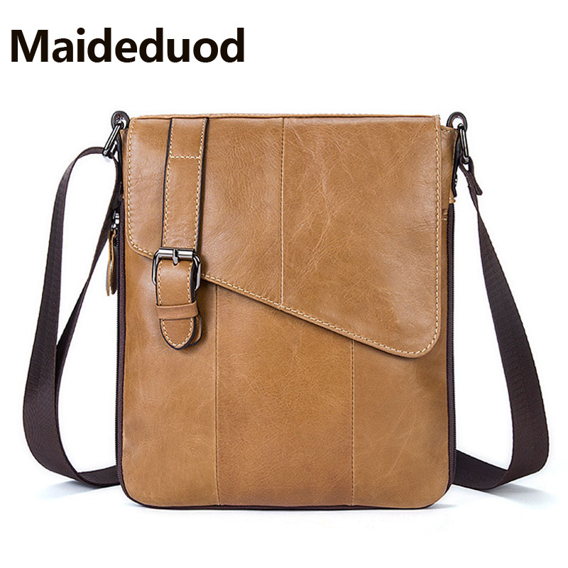 Maideduod  Fashion vertical messenger bag with 100% genuine leather men shoulder bag for business men casual crossbody bags 8240