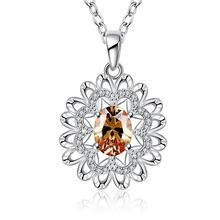 QN730 New Design 2016 Fashion 925 Sterling Silver Chain Flower Cubic Zirconia Crystal font b Pendant