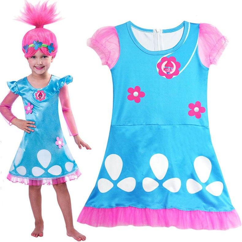 Girl Kids Trolls Poppy Dress Skirt Child Cosplay Costume Magic Hair Children Swimming Suit Swimwear Bathing Cap Hat