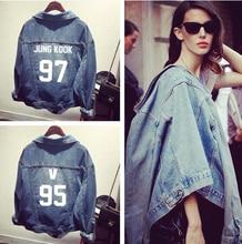 Bts kpop kids clothes Bangtan hole denim jacket coat female baseball k-pop BTS bulletproof exo hooded sweatshirt tops Outerwears