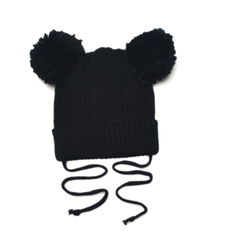 b68345a2923422 Double Giant Pom Pom Baby Hat Kids Earflap Beanie Hat Winter Knitted ELF Baby  Hat Photo Props SW113-in Hats & Caps from Mother & Kids on Aliexpress.com  ...