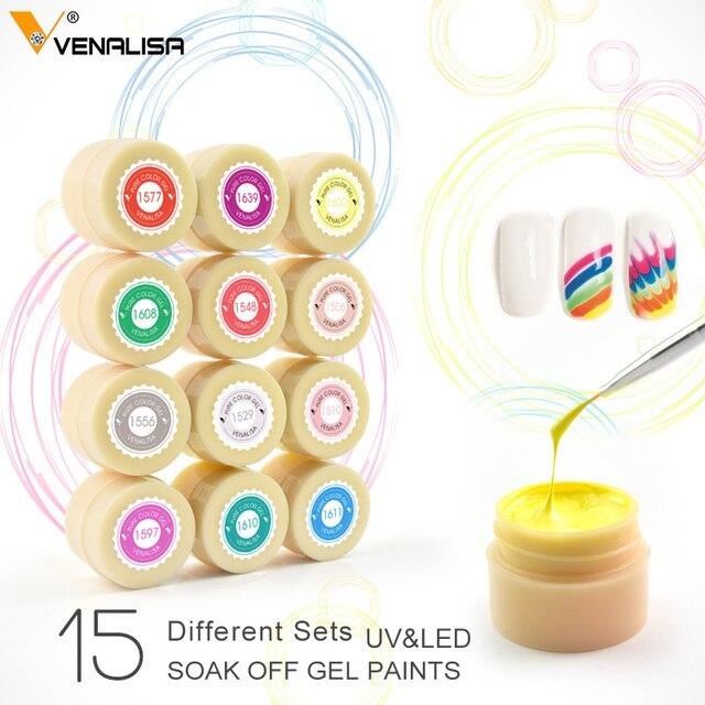 Glitter Color Gel CANNI Factory Venalisa UV LED Paint Gel 5ML 180 Pure Color Varnish Soak off Wrinkle UV LED Nail Painting Gel