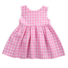 2017 Cute Newborn Baby Dress Infant Bebes Summer Sleeveless Pink Plaid Princess Girls Party Dress One Pieces Children Clothes