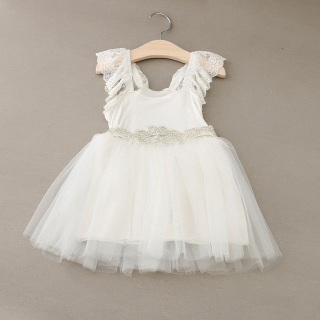 794f62d0499d Baby Girls Fairy Tulle Lace Puff Sleeve Mesh Dress Shine Sashes, Princess  White wedding Party Clothes 5 pcs/lot, Wholesale
