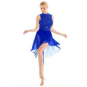 Image 3 - TiaoBug Adult Halter Sleeveless Shiny Sequins Gymnastics Leotard Women Tutu Ballet Bodysuit Skating Dress Lyrical Dance Costumes
