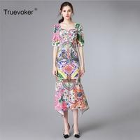 Truevoker Europe High End Designer Boutique Dress Women S High Quality Short Sleeve Fancy Baroque Printed
