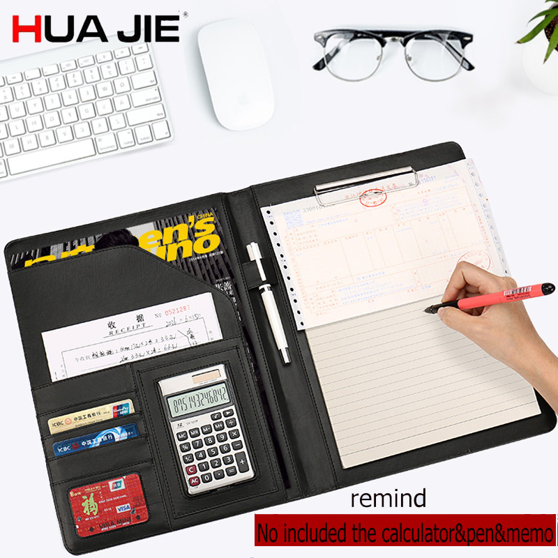 HUA JIE PU Leather Portfolio Pocket Folder Card Holders A4 paper File Document Organizer Bag for meeting Menu Covers Restaurants