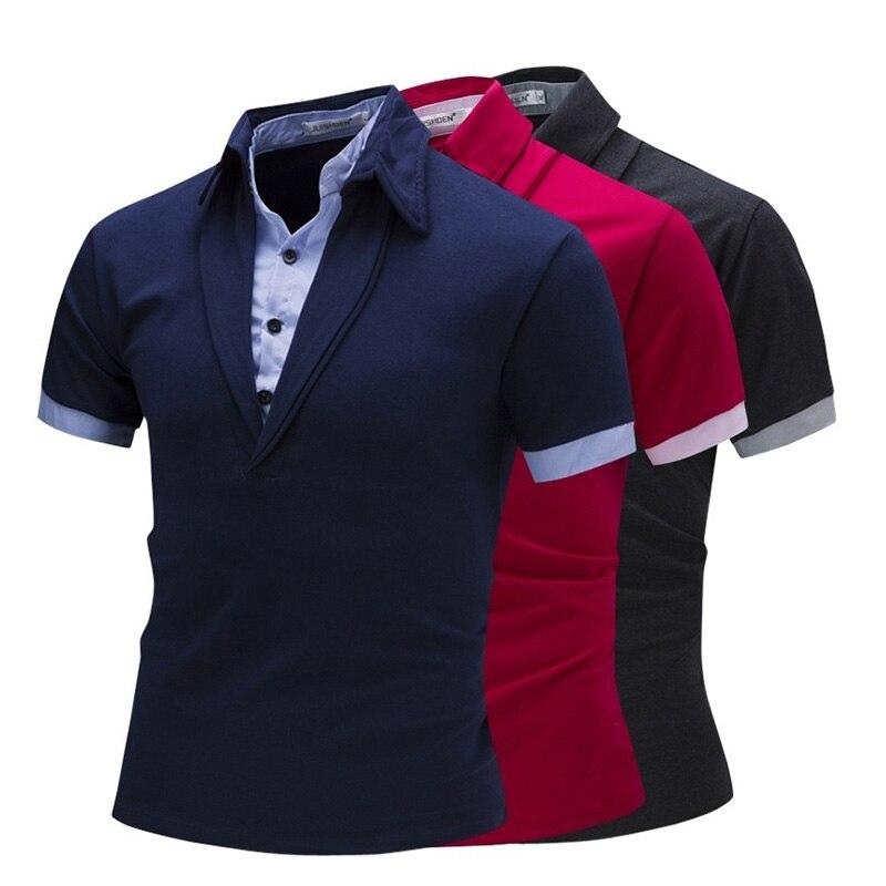 ZOGAA 2018 nueva moda hombres camiseta a rayas Polo camisas dos piezas algodón