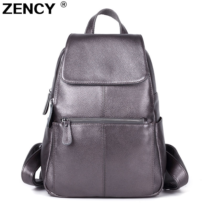 14 Colors 100% Original Genuine Leather Women Backpack Top Layer Cow Leather Ladies White Silver Backpacks Travel Cowhide Bag