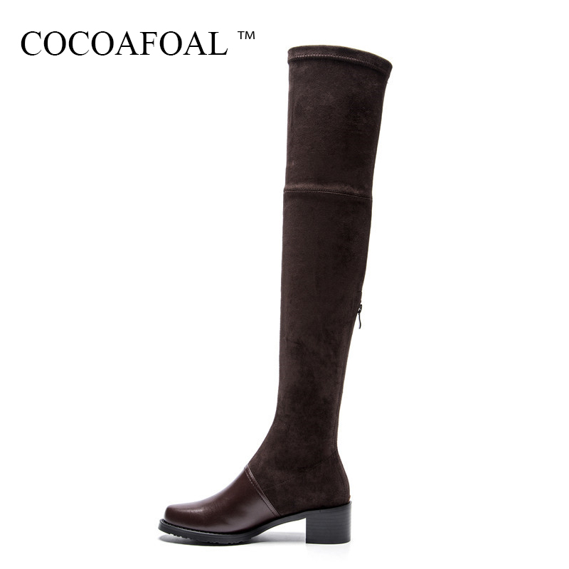 COCOAFOAL Fashion Sexy High Heeled Shoes Women Genuine Leather Zipper Over The Knee Boots Winter Black Chelsea Thigh High Boots