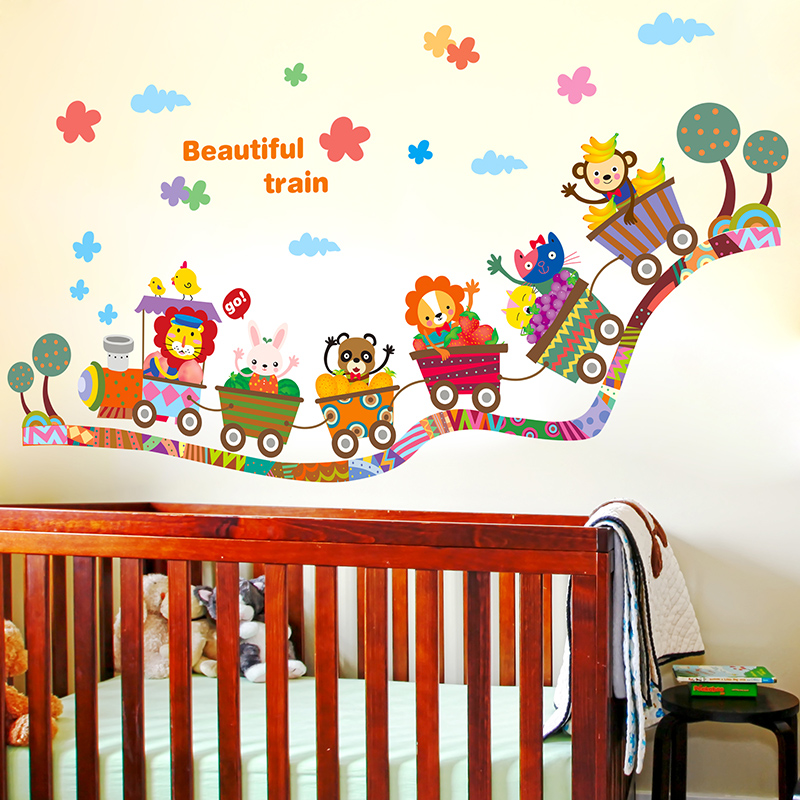 Cartoon Small Animal Train Wall Sticker Baby Room Nursery Class Childrenu0027s  Room Bedroom Living Room Sofa Background Stickers In Wall Stickers From  Home ... Part 59