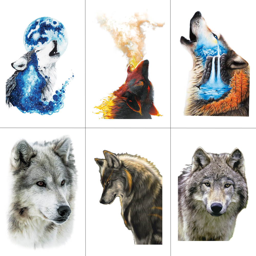 HXMAN Watercolor Wolf Tiger Temporary Tattoos Waterproof Women Fake Kids Children Hand Tattoos Men Body Art 9.8X6cm A-005