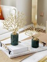 Современные аксессуары для дома медные золотые украшения из кораллов модель комнаты гостиной мраморные ремесленные украшения