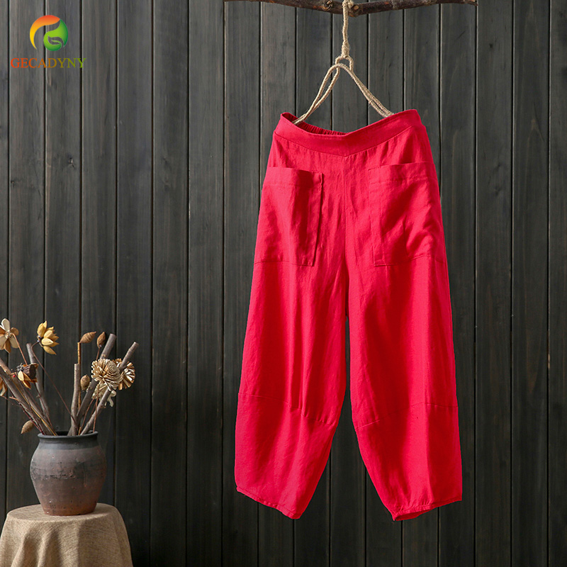 Big size cotton linen women loose calf length pants capris elastic waist summer cozy casual trousers solid pants for woman
