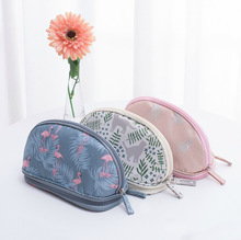Printed Travel Cosmetic Bag Portable Large Capacity Double Layer Flamingos Makeup Neceser