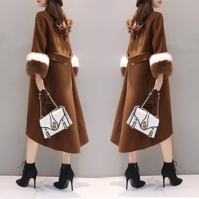 Femme Veste Longue Colour Manteaux De Mode Épaissir caramel Single Black Manteau Slim Laine Femmes breasted 2018 D'hiver Chaud PA1OwSxOq7