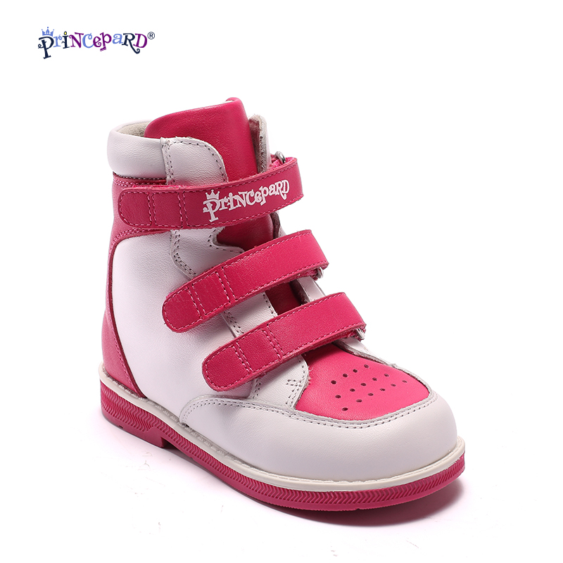 Princepard Diagnostic Sole Ankle Support Boy's Girl's  pink navy Orthopedic Genuine Leather Sneaker orthopedic shoes for kids