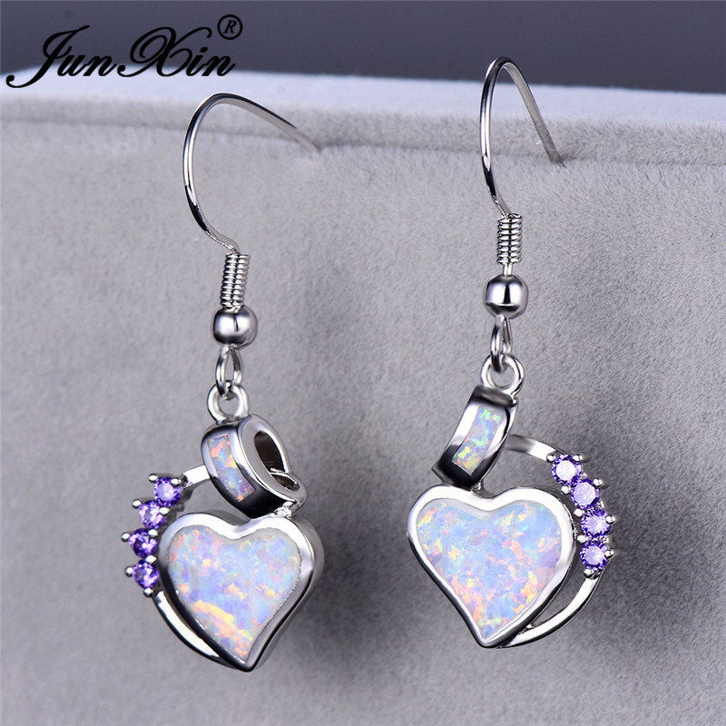 JUNXIN Love Heart Dangle Blue White Fire Opal Drop Earrings For Women White Gold Filled Purple Zircon Birthstone Earrings Gift