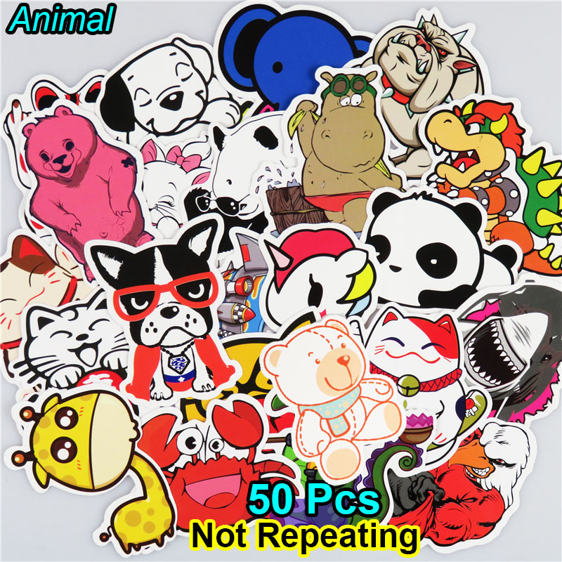 AIBOULLY 50 PCS Animal Skateboard Car Laptop Toy Stickers