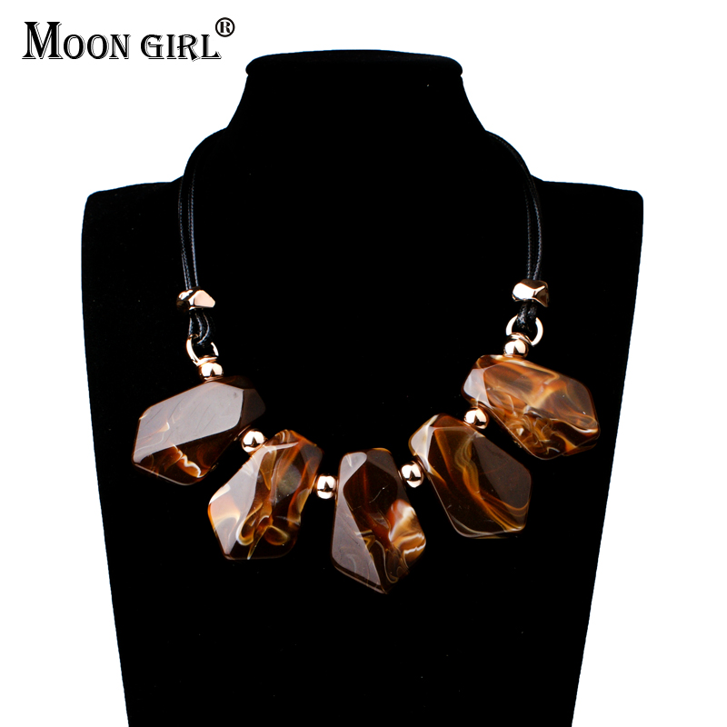 Moon Girl New Pu Rope Chain 3 Color Necklace 2017 Statement Fashion Jewelry Trendy Choker Necklaces & Square Pendants For Women