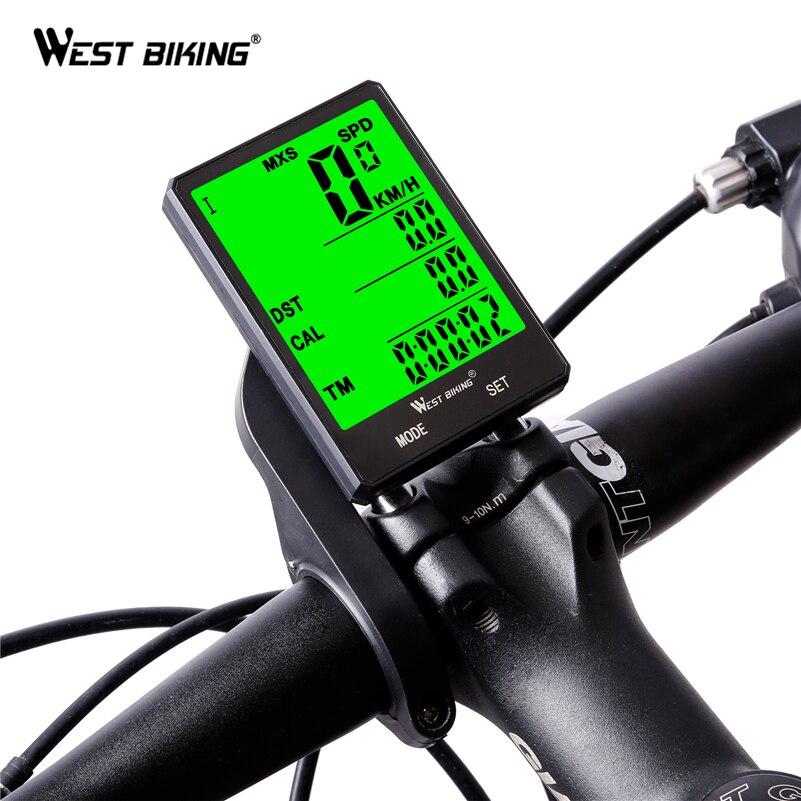 WEST BIKING ciclismo velocímetro 2,8 ''de pantalla grande impermeable 20 funciones inalámbrico y con cable bicicleta odómetro de la bicicleta computadora