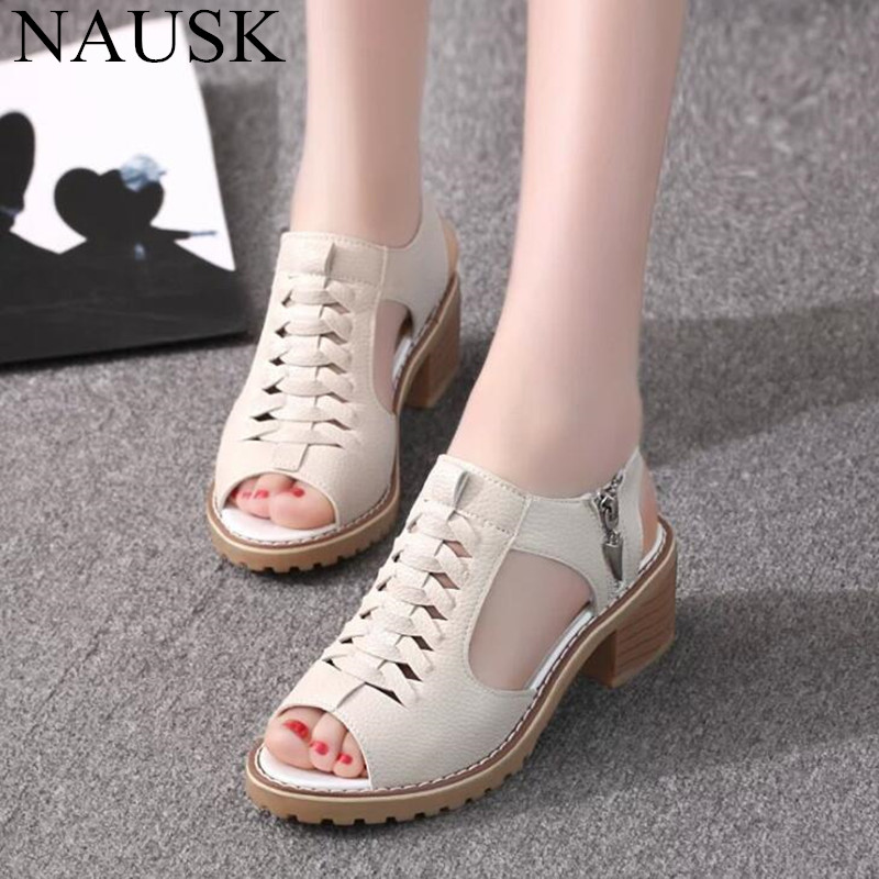 NAUSK Plus Size Women Sandals Platform Women Shoes TPR Side Zipper Sandals Retro Open Toe Summer Sandals
