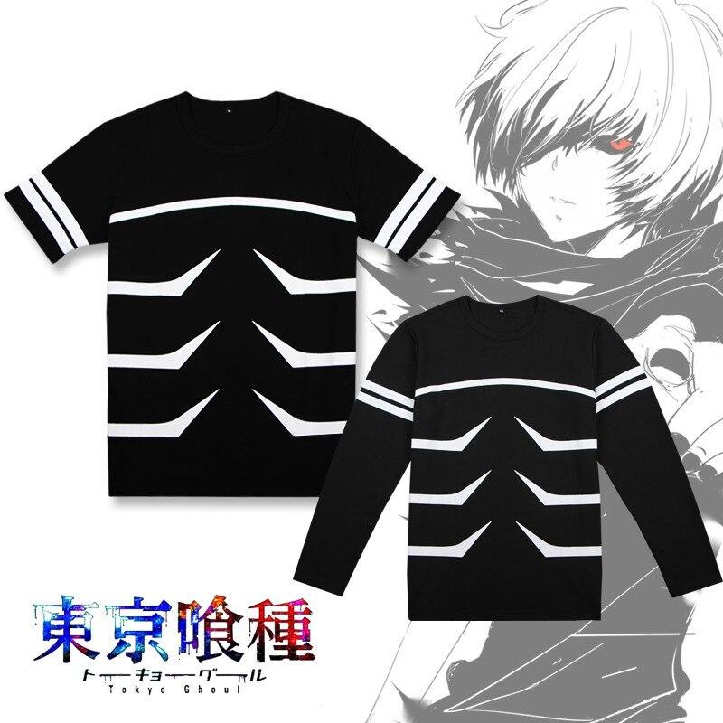 anime MEN WOMEN Tokyo Ghoul cosplay shirt kaneziki jacket clothes kaneki ken carnaval cosplay shirt short sleeve long sleeve tee