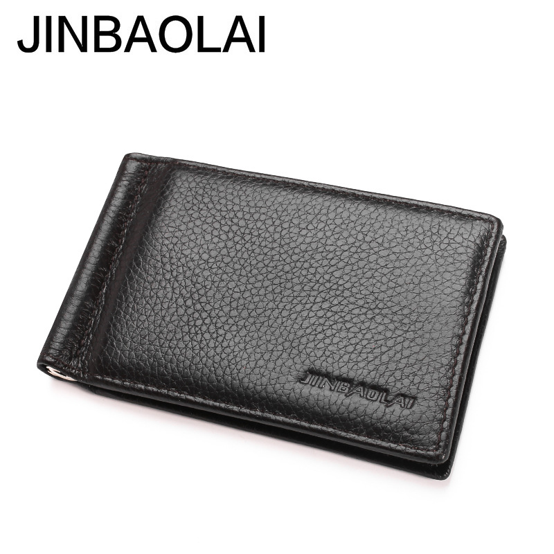 Handmade Leather Money Clip Wallet Male Card Cash for