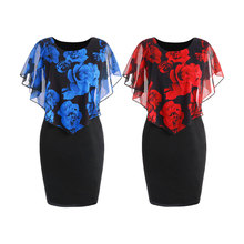 Slimmer 2 Colors Women Dress Plus Size Rose Valentine Overlay Party Office Ladies Dresses