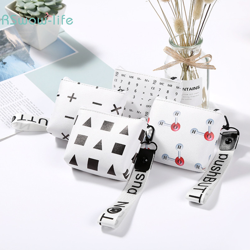 2pcs New Creative Small Gifts Geometric Elements PU Coin Purse Cute Mini Key Bag Gifts for Guests Festive Party Supplies in Party Favors from Home Garden