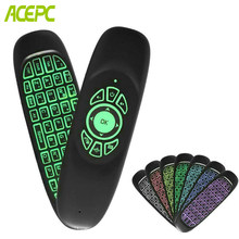 Air Mouse C120 Backlight 7 Colors 2.4G Wireless mini Keyboard for Android TV Box mini pc Windows mini computer remote control(China)