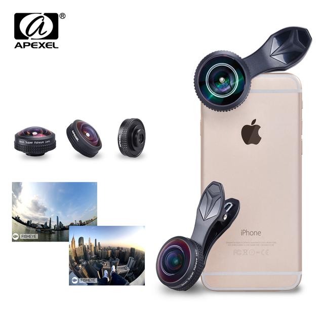 Apexel objetivo 8mm 238 grados lente ojo de pez, 0.2x fotograma completo sin círculo oscuro lente gran angular para iphone android smartphone
