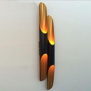 Image 3 - 현대 알루미늄 튜브 벽 조명 e27 전등 골드 블랙 북유럽 레스토랑 거실 통로 복도 발코니 벽 램프