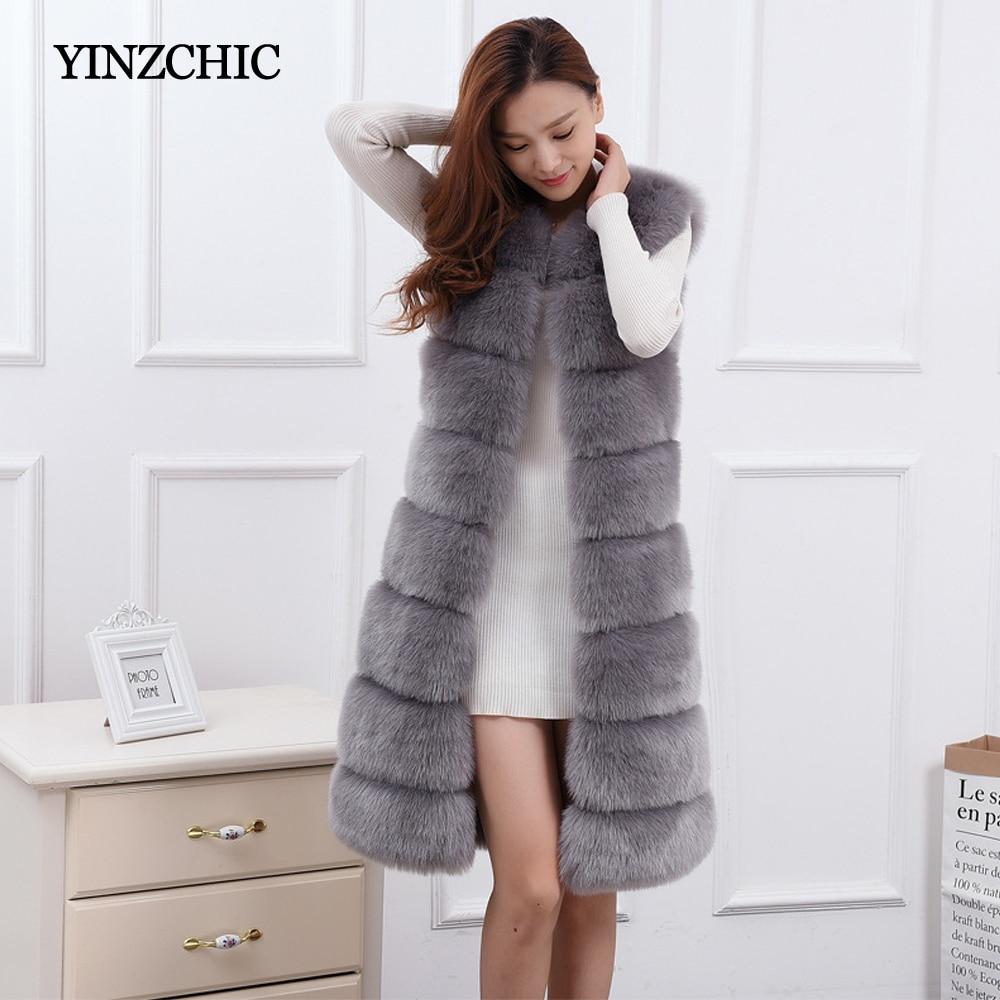 Les Femmes d'hiver Épais manteaux de fourrure O-cou Femelle Sans Manches En Fausse veste en fourrure Moelleux Chaud Artificielle Fourrure Manteaux Longs Femmes