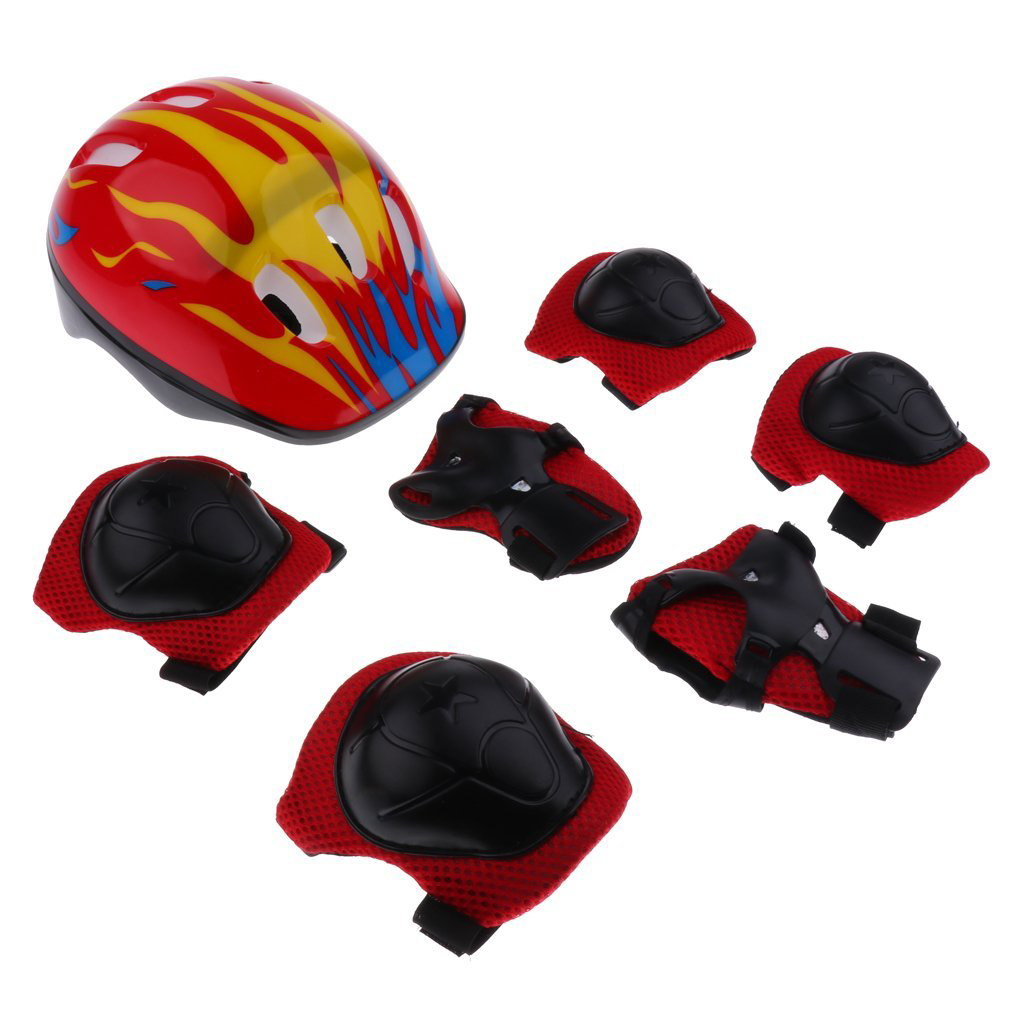 7 Pieces Kids Children Multicolored Roller Skating Scooter Bicycle Helmet Knee Elbow Wrist Pad Guard Protective Gears Set - Ye