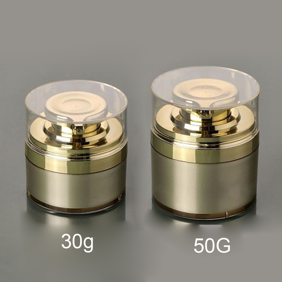 2pcs Per Lot 30g 50g Airless Cosmetic Cream Round Container Jar In Gold Color With Pressed Pump