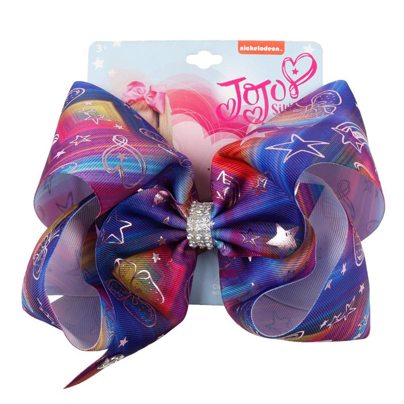 8 quot Large Hair Bow for Girls Handmade Printed Cartoon Hair Bows Rainbow Horse Girls Rhinestone Hair Accessories in Hair Accessories from Mother amp Kids