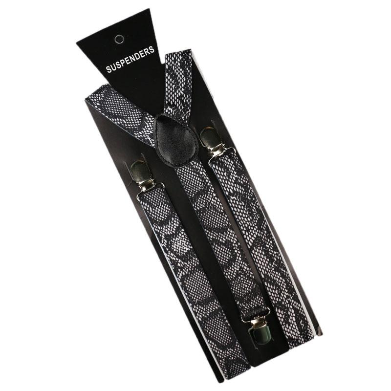OLOME Vintage Men Women Suspenders Snake Skin Print Braces Elastic Suspenders Suspensori Pants