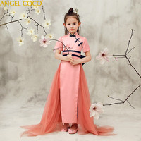 Высокое качество Новый стиль детей Костюмы китайское платье Eveving вечерние Cheongsam Qipao платья для халат для девочки De Soiree карнавал