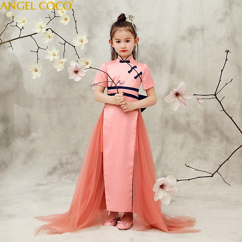 High Quality New Style Children Clothing Chinese Dress Eveving Party Cheongsam Qipao Dresses For Girls Robe De Soiree Carnaval short modern cheongsam chinese dress robe vietnam ao dai chinese traditional dress chinese dress qipao chiffon