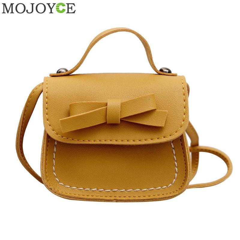 Children Girls Messenger Bag Cute Bowknot Pure Color Handbags Kids PU Leather Shoulder Bags Mini Crossbody Bag Clutch Handbag
