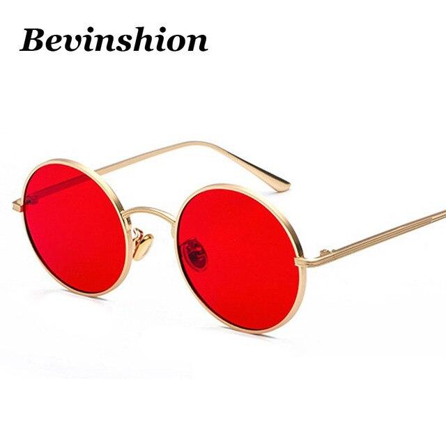 1f0b3eee2fe63 Gafas de sol de Metal redondas Corea Cool Vintage Steampunk para mujer rojo  amarillo lentes Color