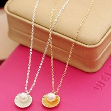 Korean Fashion Jewelry Bohemian Necklace Simple Temperament Pearl Shell Shape Pendant Necklace Women's Elegant Necklace цена 2017