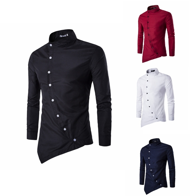 5c908178713 Court Style Casual Men s Shirt Fashion Slim Oblique Placket Personality Shirt  Men Long-sleeved Stand