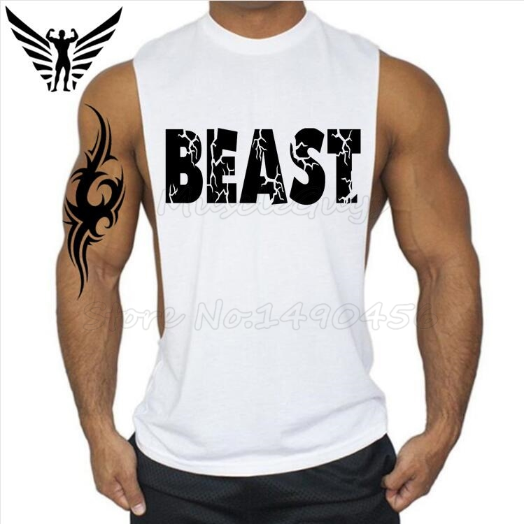 Muscleguys New Brand workout BEAST print Vest Gyms clothing Bodybuilding and font b Fitness b font