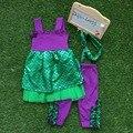 Verano de los bebés boutique de trajes ropa niños sirena trajes niñas púrpura trajes con diadema a juego