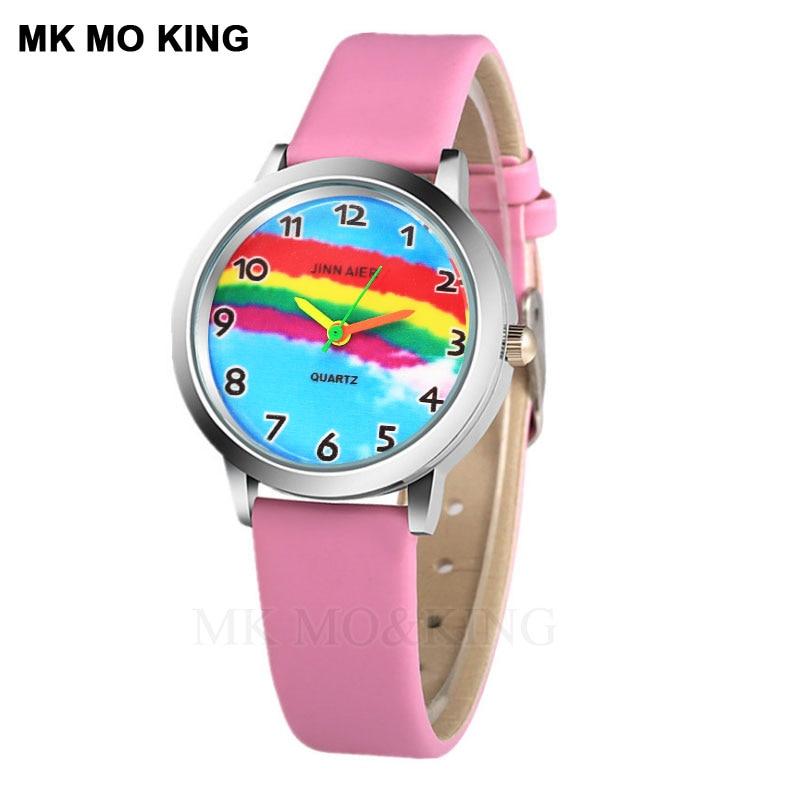 Luxury Brand Rainbow Cartoon Cute Disne Kittyed Children's Boys Girls Kids Digital Quartz Wrist Watch Clock Gifts Bracelet Mk Dw
