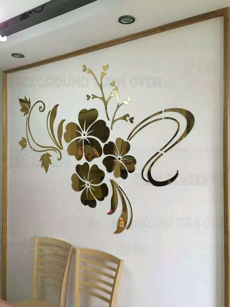 Wall sticker picture more detailed picture about hot sell diy hot sell diy spring nature hibiscus flower mirror decorative wall sticker home decor 3d wall decoration amipublicfo Choice Image