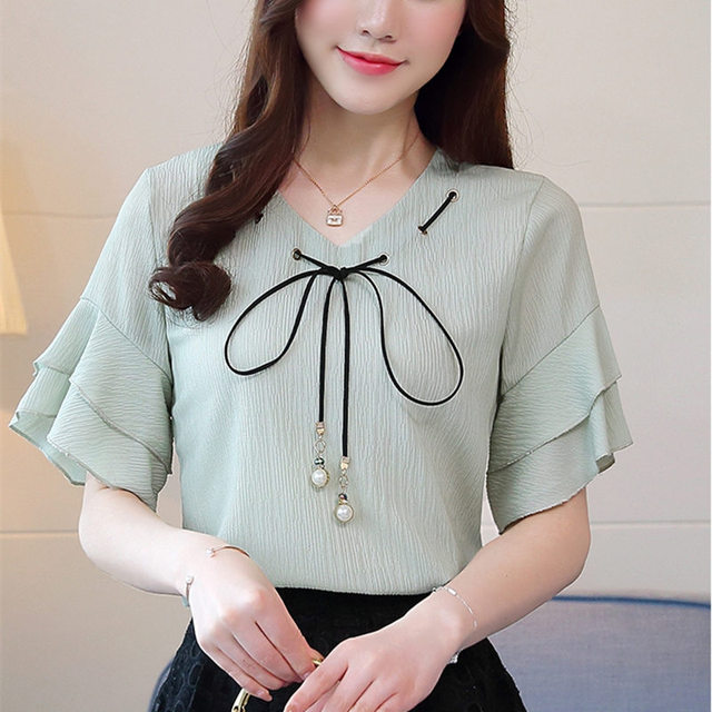 f023210b394 Plus Size 2018 Summer New Chiffon Shirt Lotus Leaf Short-Sleeve Women  Blouses V-Neck Bow Tie Pure Color Loose Ladies Tops